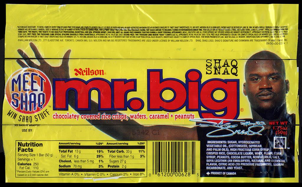 Canada - Neilson Mr Big - Shaq Snaq Meet Shaq - chocolate candy bar wrapper - 1996