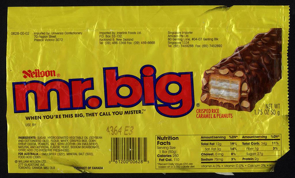 Canada - Neilson Mr Big - chocolate candy bar wrapper - 1990's