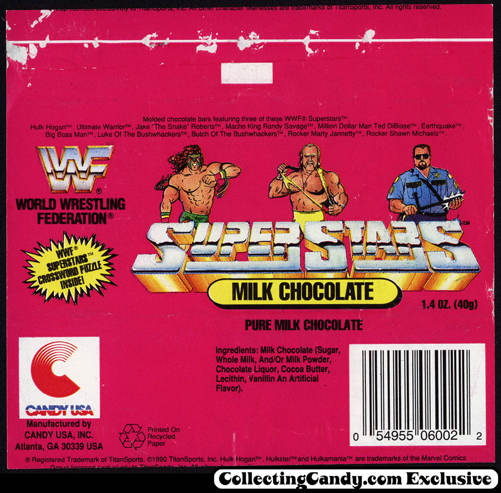 Candy USA - WWF World Wrestling Federation Milk Chocolate bar - candy wrapper - 1991