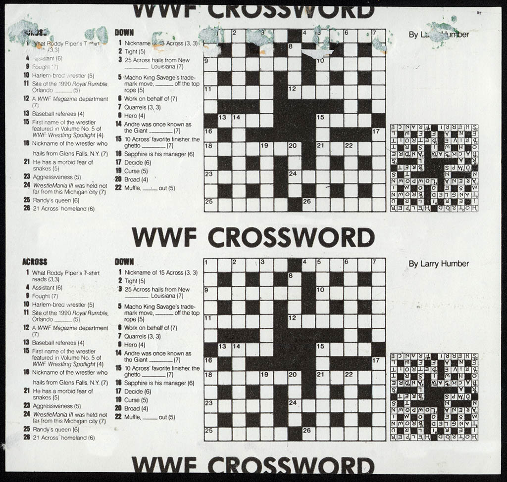 Candy USA - WWF World Wrestling Federation candy wrapper - crossword puzzle back - 1991