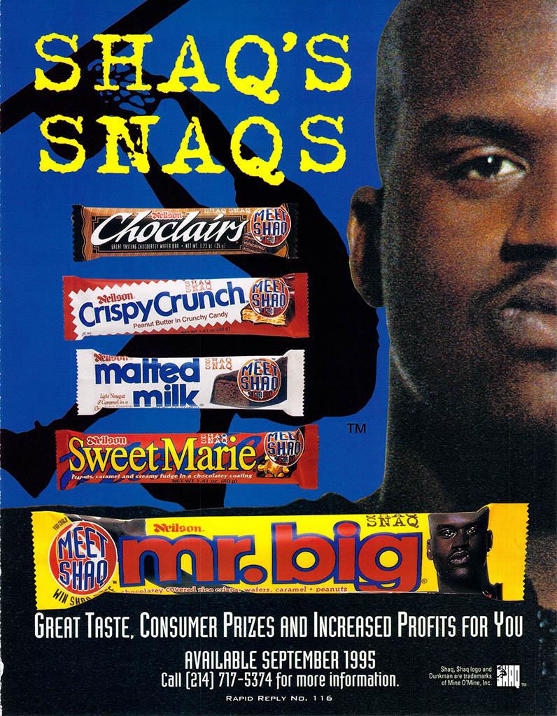 Nielson - Shaq's Snaqs trade ad - July 1995