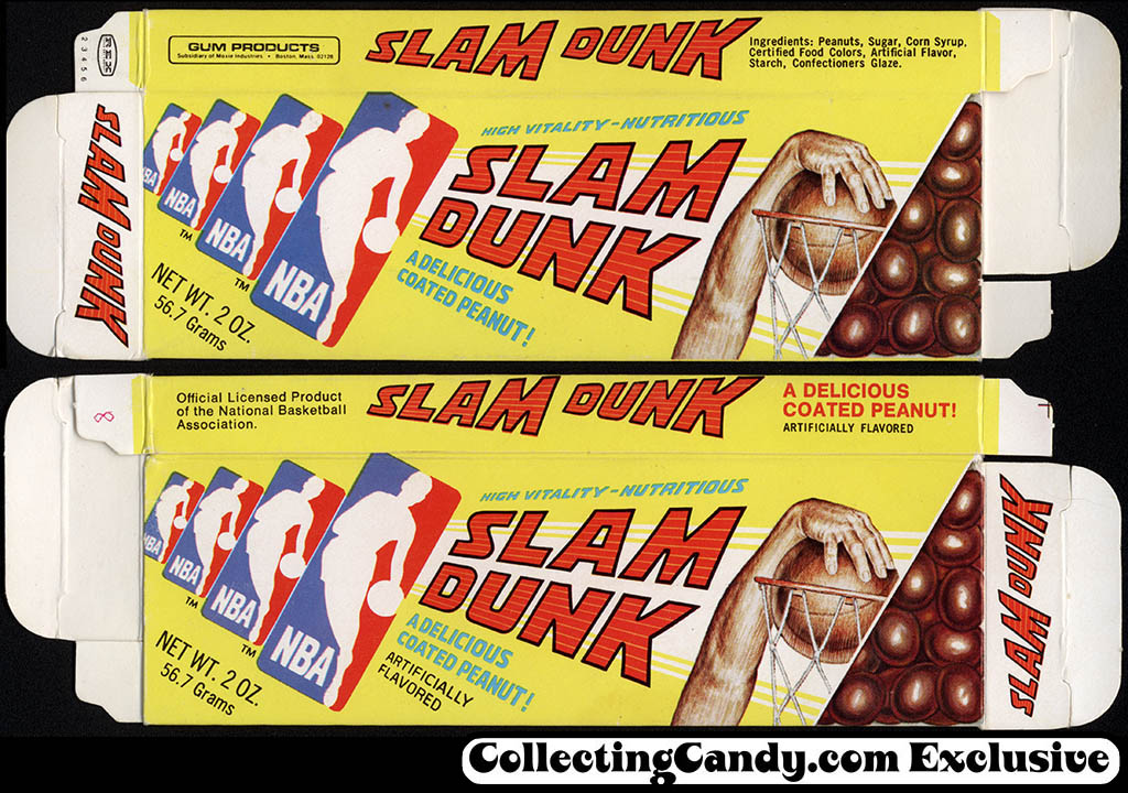 Gum Products - Slam Dunk - candy-coated peanuts - candy box - 1970's