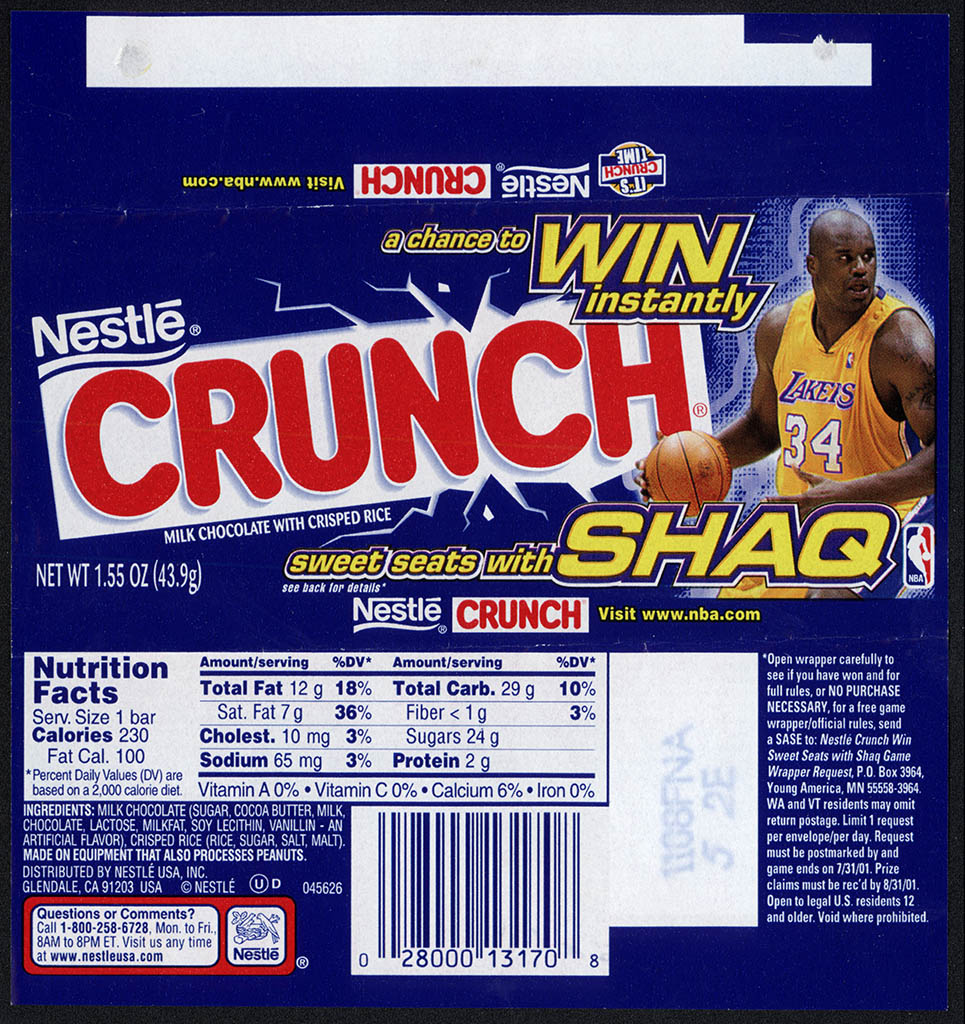 Nestle - Crunch - Sweet Seats with Shaq - chocolate candy bar wrapper - 2001a