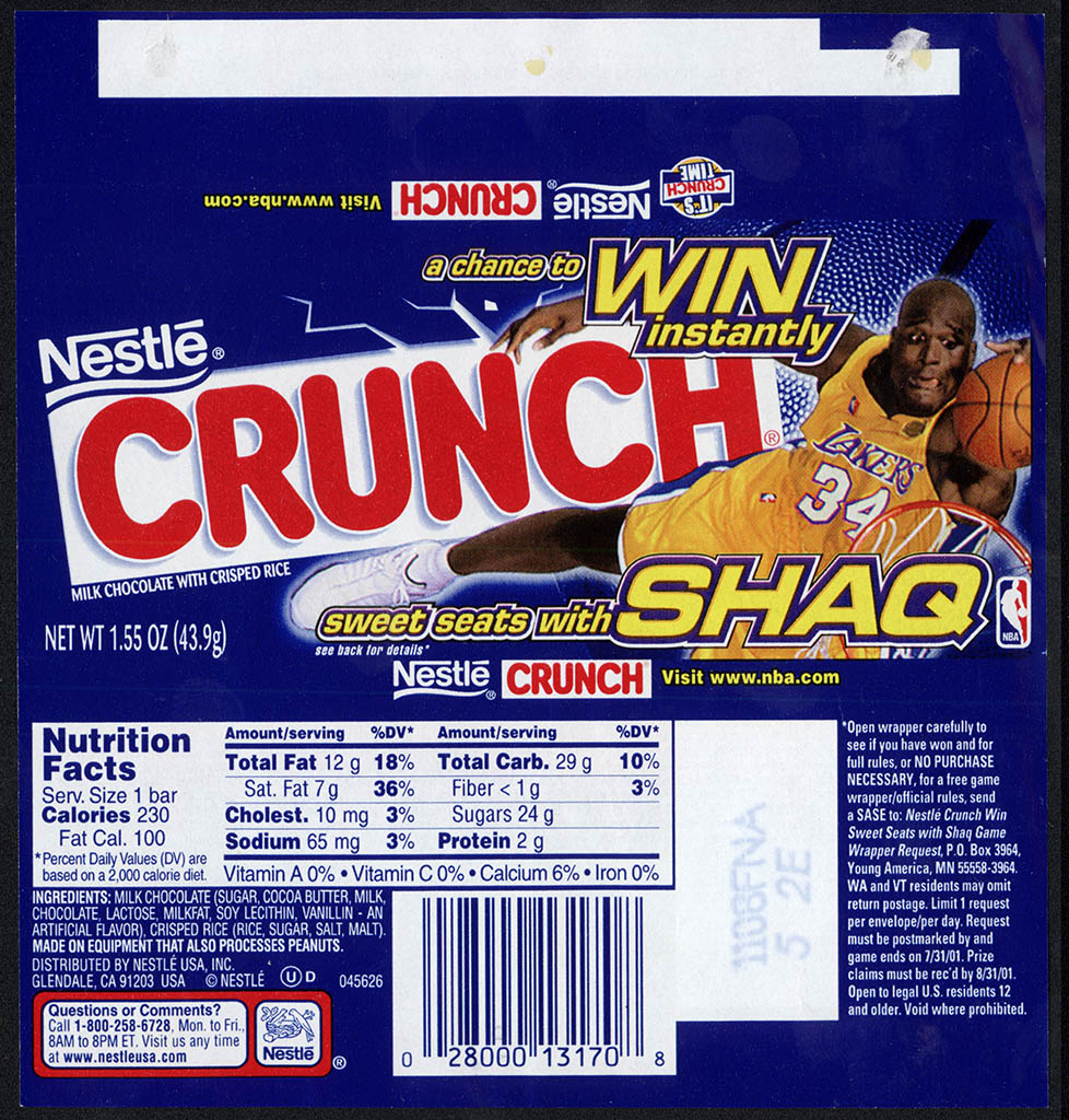 Nestle - Crunch - Sweet Seats with Shaq - chocolate candy bar wrapper - 2001