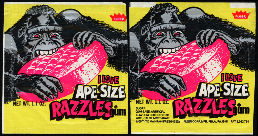 Fleer - Razzles - I Love Ape Size Razzles - gum candy package wrapper - 1981
