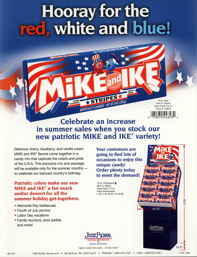 Just Born - Mike and Ike Stripes - promotional flyer - 2002-2003