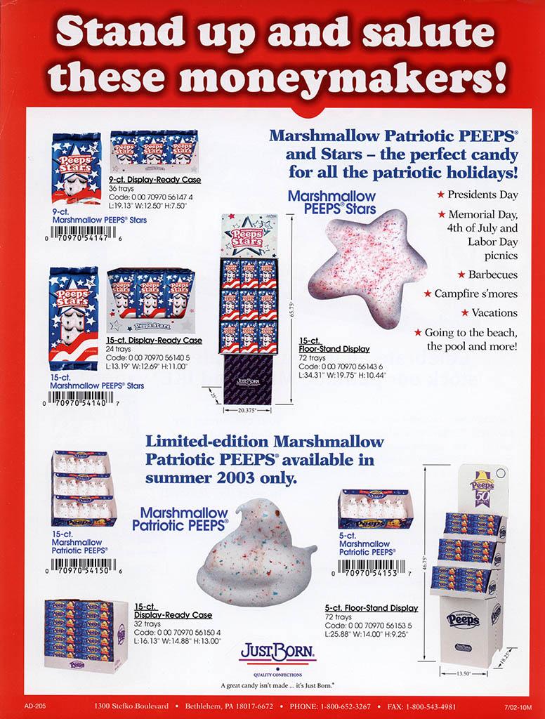 Just Born - Patriotic Peeps - promotional flyer - 2003