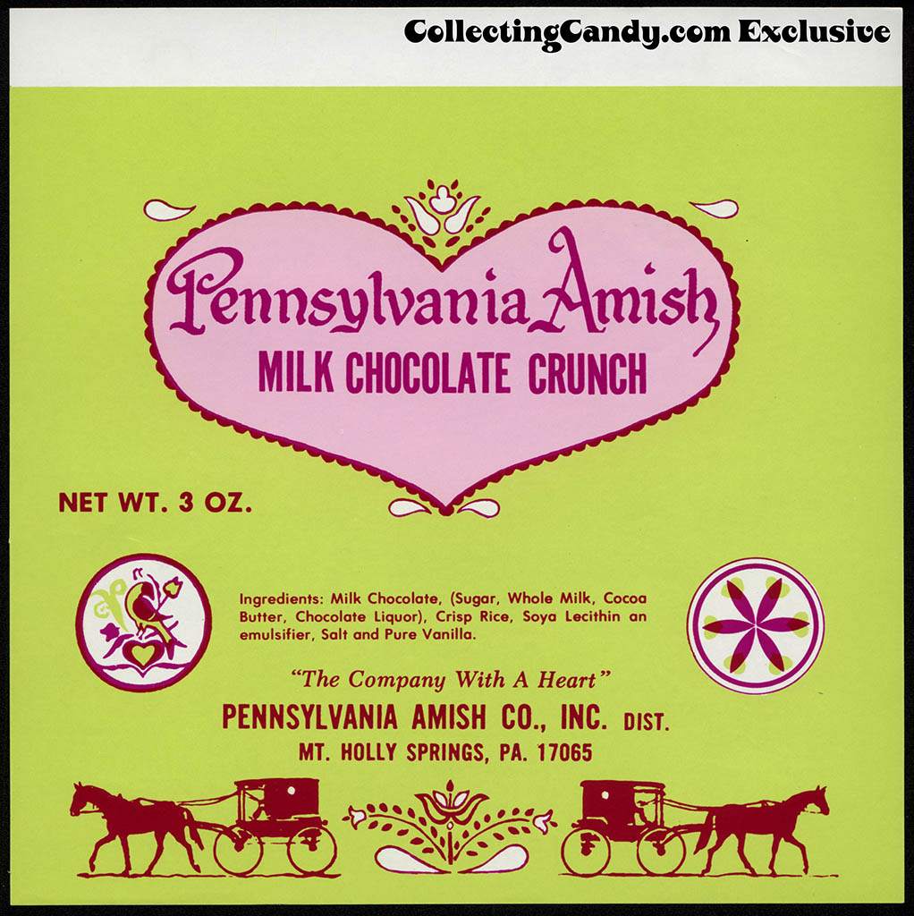Pennsylvania Amish Co Inc - Pennsylvania Amish Milk Chocolate Crunch bar - candy wrapper - circa 1979