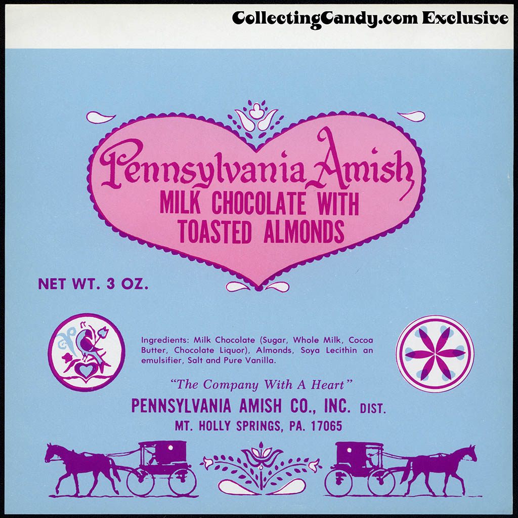Pennsylvania Amish Co Inc - Pennsylvania Amish Milk Chocolate with Toasted Almonds bar - candy wrapper - circa 1979