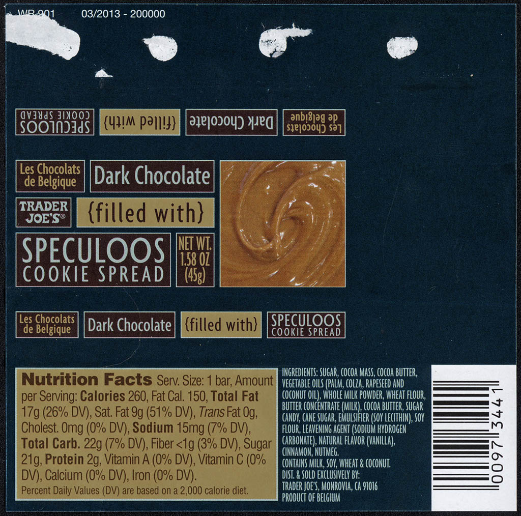 Trader Joe's - Dark Chocolate Filled with Speculoos Cookie Spread - candy bar wrapper - July 2013
