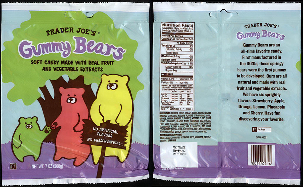 Trader Joe's Gummy Bears 7oz candy package - July 2013