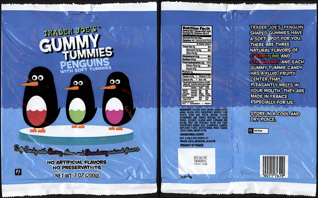 Trader Joe's Gummy Tummies Penguins 7oz candy package - July 2013