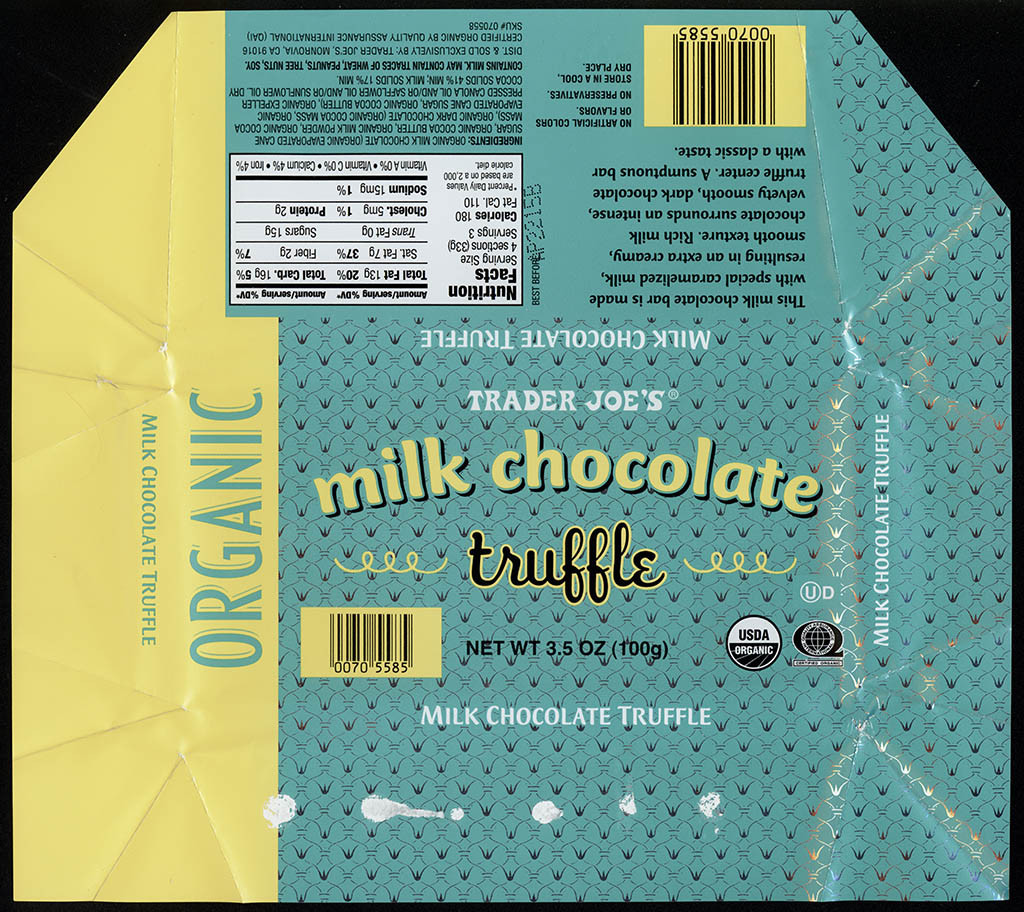 Trader Joe's Milk Chocolate Truffle - chocolate candy bar wrapper - July 2013