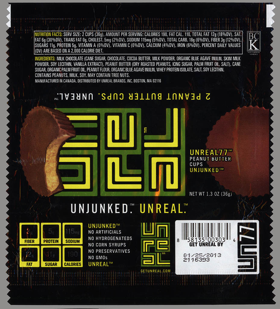 Unreal 5 - organic peanut butter cup - candy bar wrapper - 2012