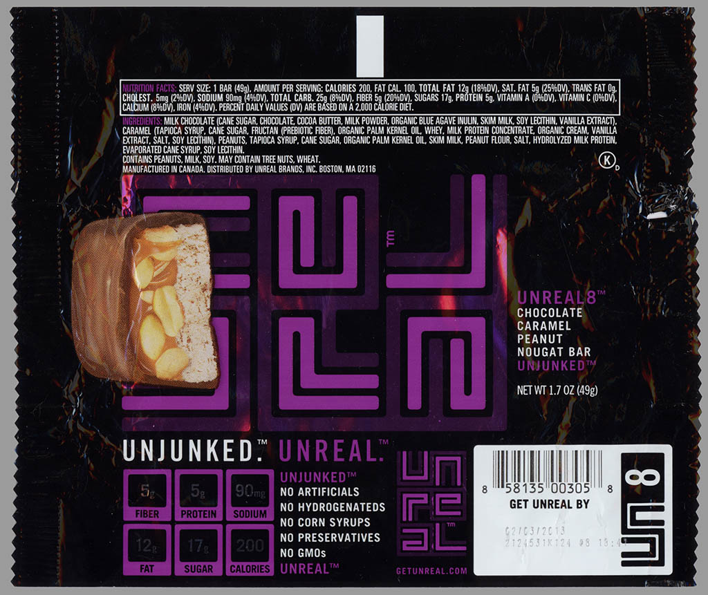 Unreal 8 - organic Snickers - candy bar wrapper - 2012