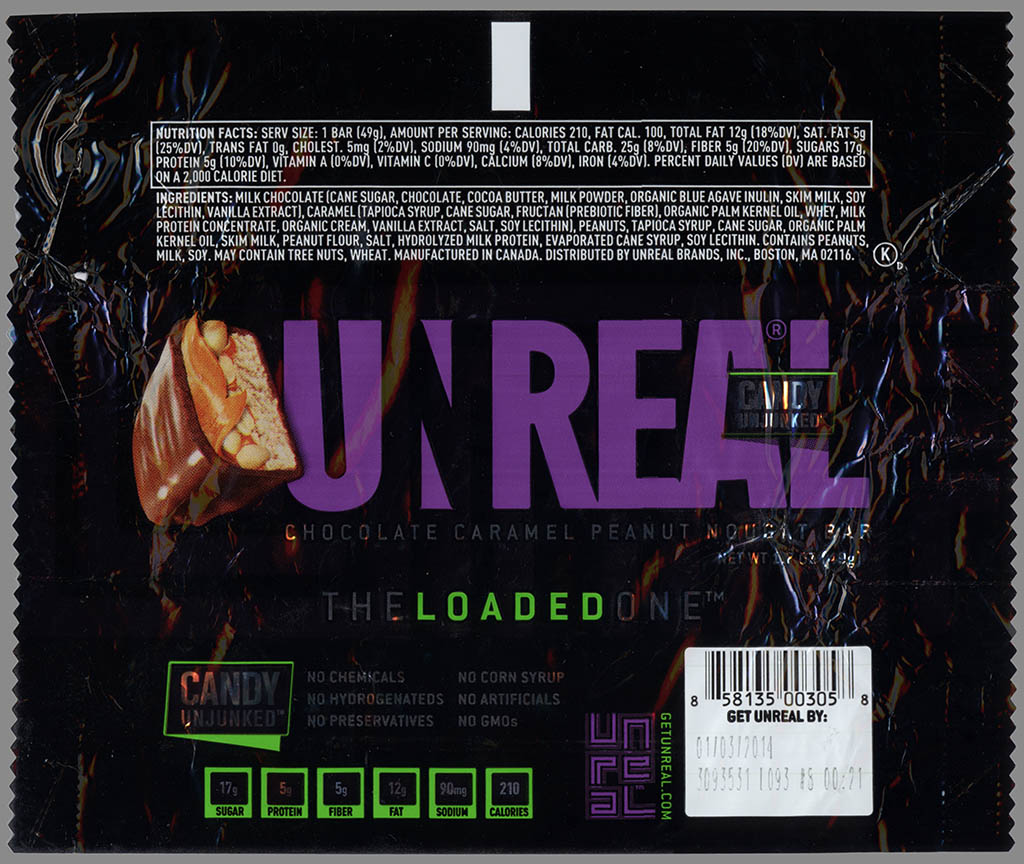 Unreal - Chocolate Caramel Peanut Nougat Bar - candy unjunked - candy wrapper - June 2013