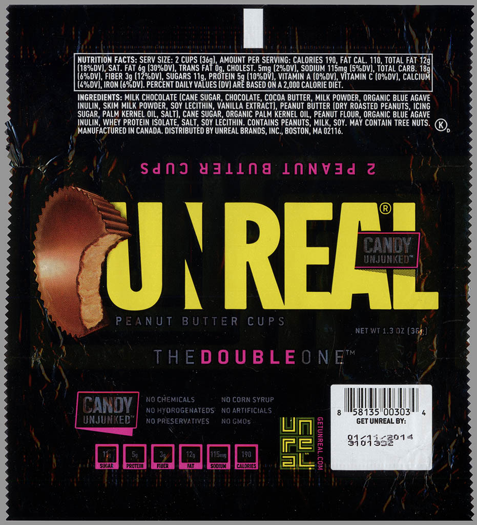 Unreal - Peanut Butter Cups - candy unjunked - candy wrapper - June 2013