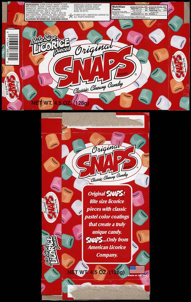 American Licorice Company - Snaps - original bit-size licorice pieces - candy box - July 2013