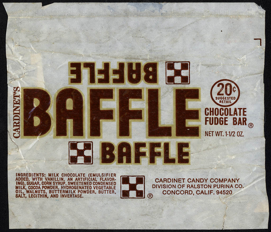 Ralston Purina - Cardinet Candy Company - Baffle Bar - 20-cent candy bar wrapper - mid-1970's