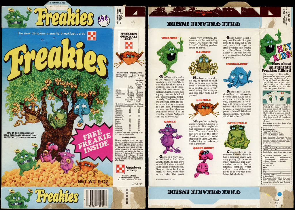 Ralston Purina - Freakies cereal box - Free Freakie Inside - 1973
