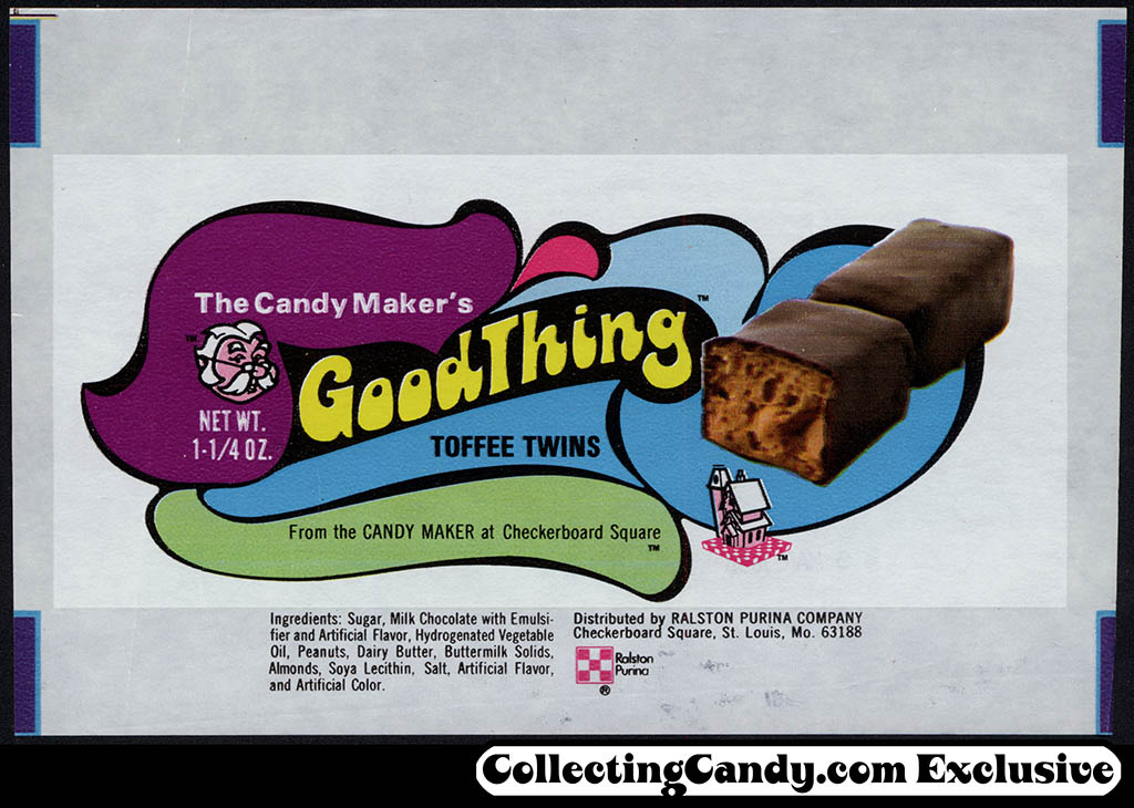 Ralston Purina - The Candy Maker's Good Thing - toffee twins bar wrapper - early 1970's