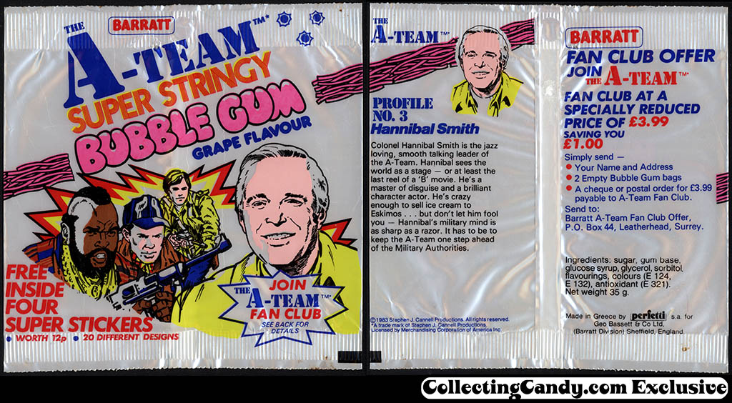 UK - Barratt - The A-Team - super stringy bubble gum grape flavour - candy bubble gum package - 1983