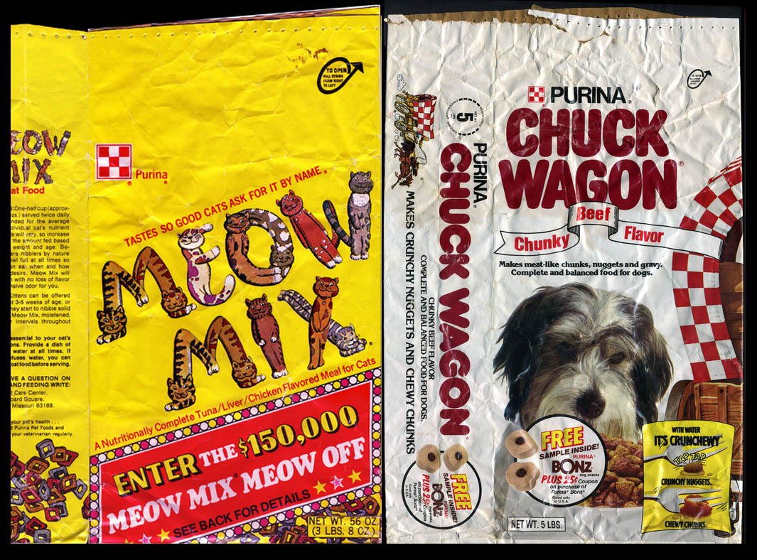 Purina Pet food packages of the 1970's