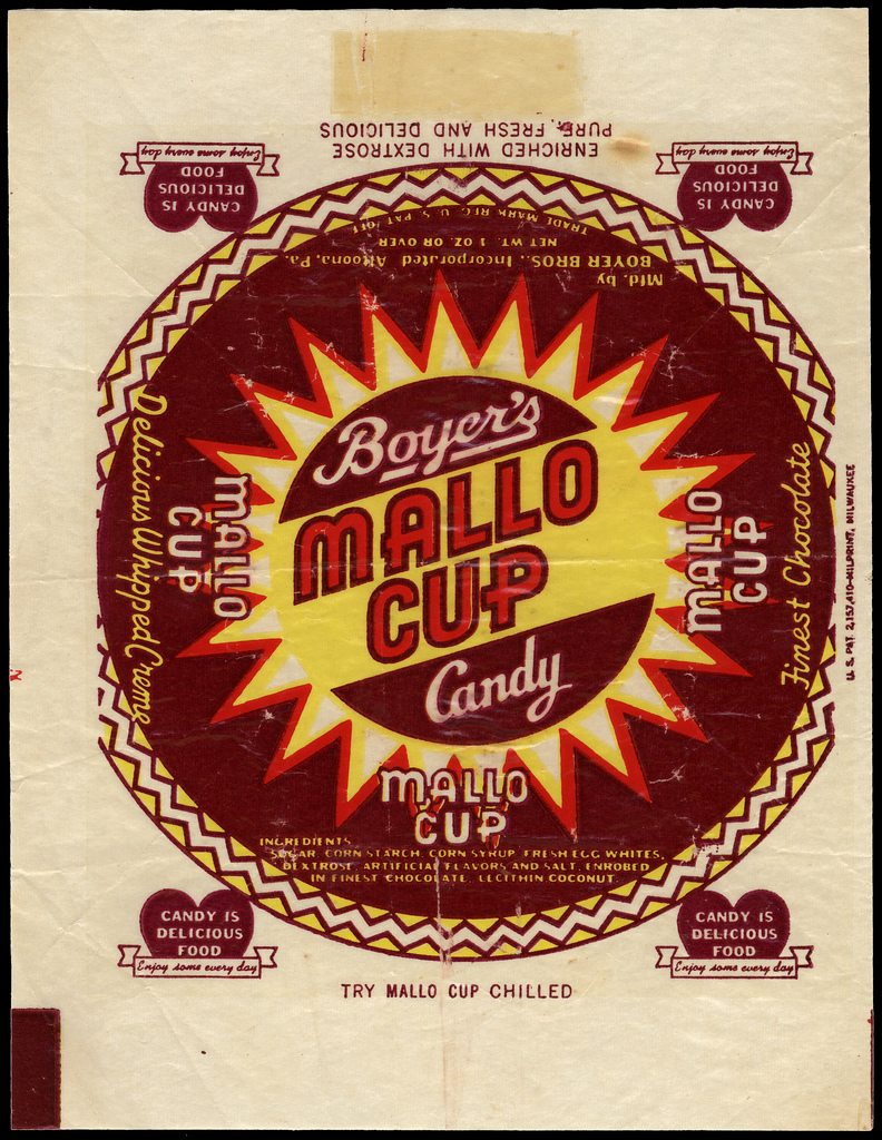 Boyer's - Mallo Cup - candy bar wrapper - 1940's 1950's