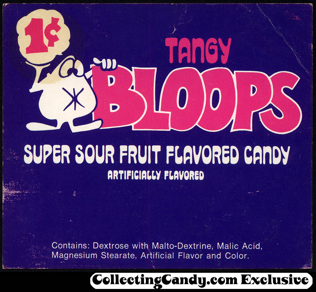 Breaker Confections - Tangy Bloops 1-cent - candy vending insert card - 1970's