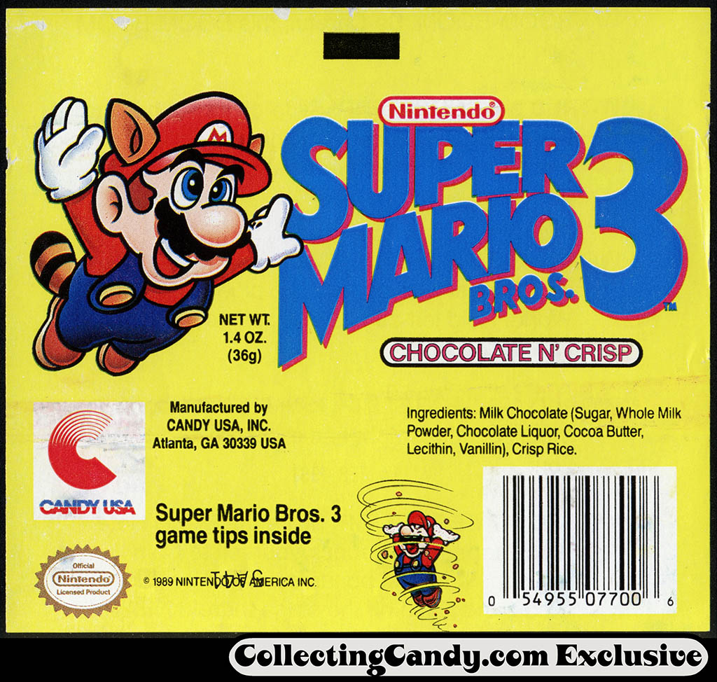 Candy USA - Super Mario Bros 3 - Chocolate N Crisp - candy chocolate bar wrapper - 1990