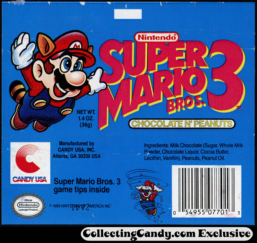 Candy USA - Super Mario Bros 3 - Chocolate N Peanuts - candy chocolate bar wrapper - 1990