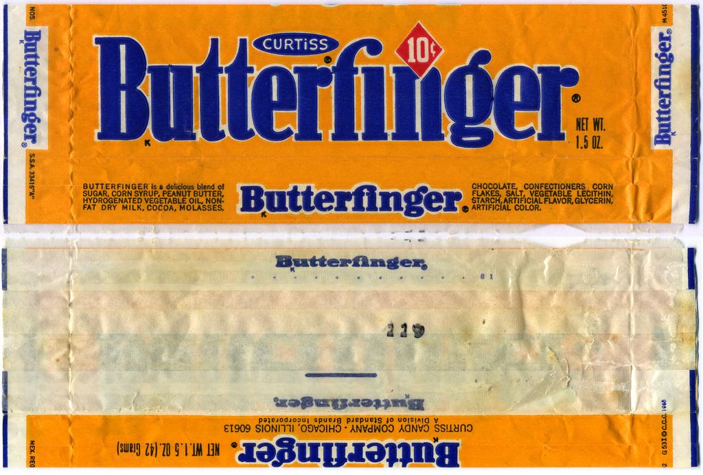 Curtiss - Butterfinger 10-cent candy bar wrapper - 1970's