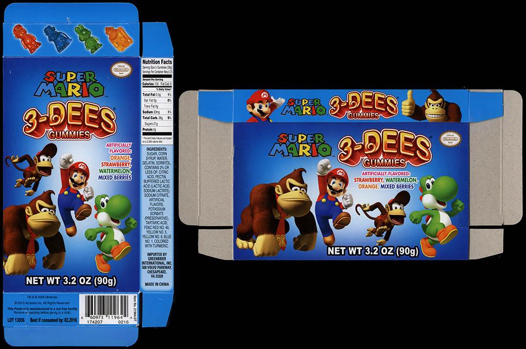 Greenbrier International Inc - 3-Dees Gummies - Super Mario - 3.2 oz candy box - 2013