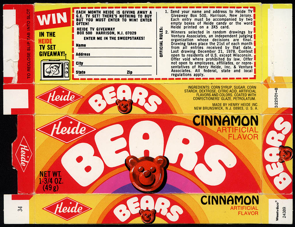 Heide - Bears - 1 3/4 oz cinnamon candies box - 1978