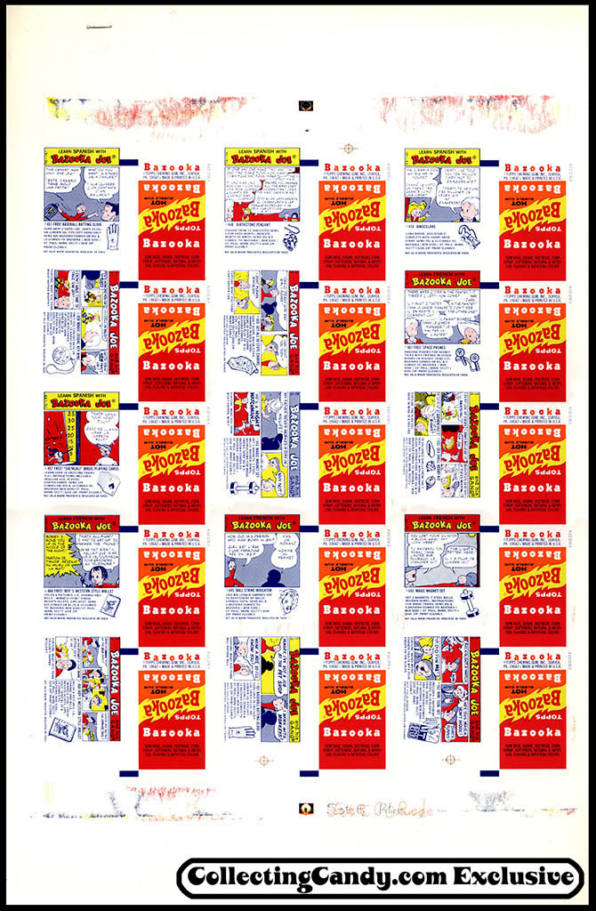 Bazooka Hot wrapper printer's proof sheet - 1973