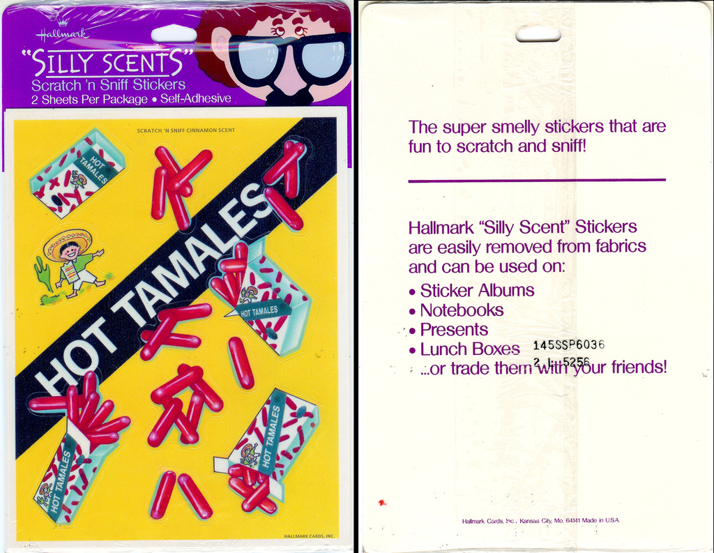 Hot Tamales - Hallmark Silly Stickers Front and back - 1980