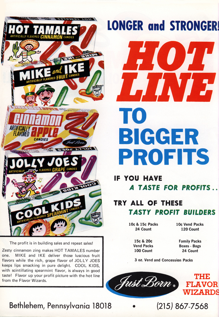 Just Born - Hot Line to Bigger Profits - candy trade ad - December 1979