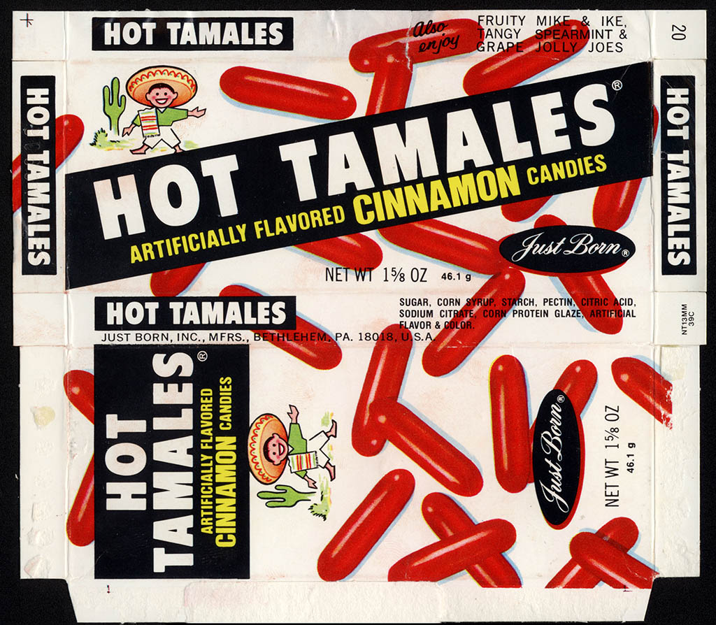 Just Born - Hot Tamales - 1 5/8 oz candy box - 1979