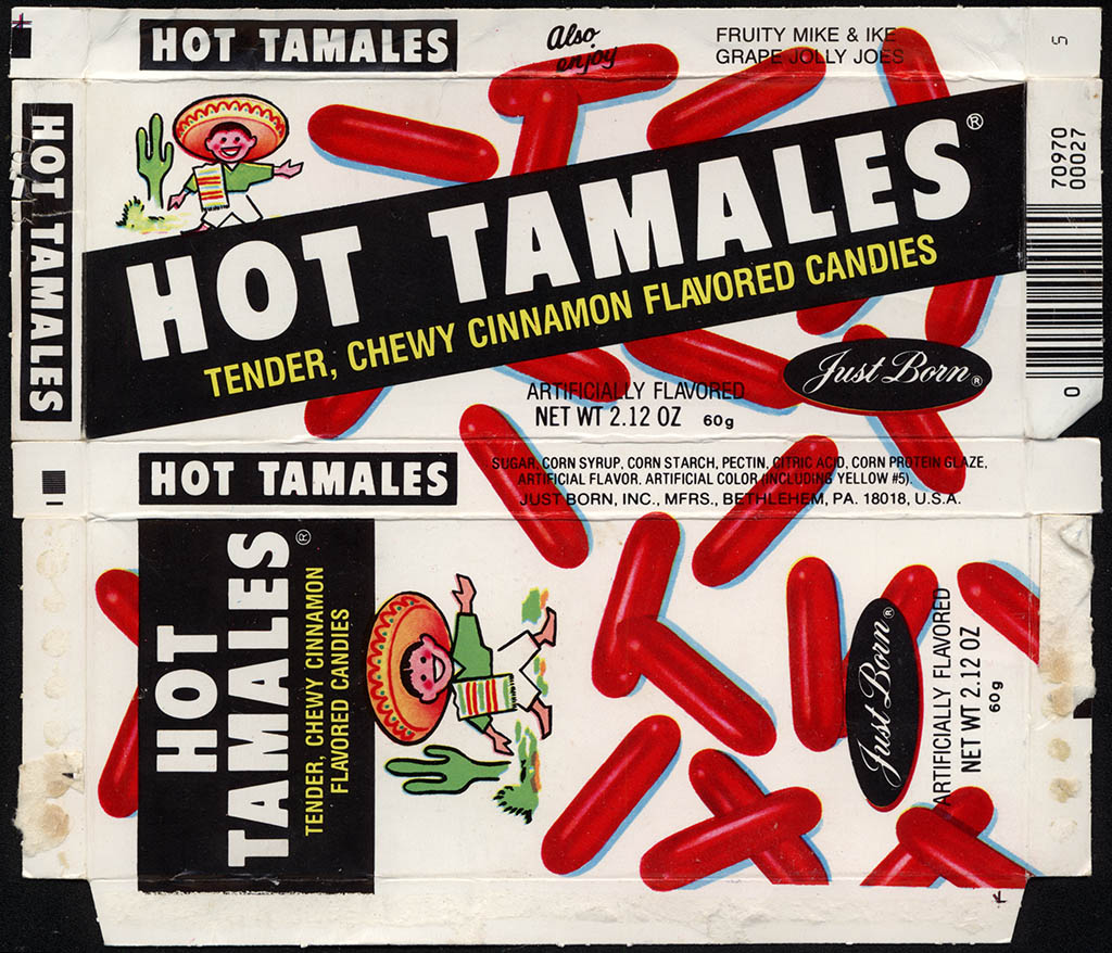 Just Born - Hot Tamales - 2.12 oz candy box - 1986