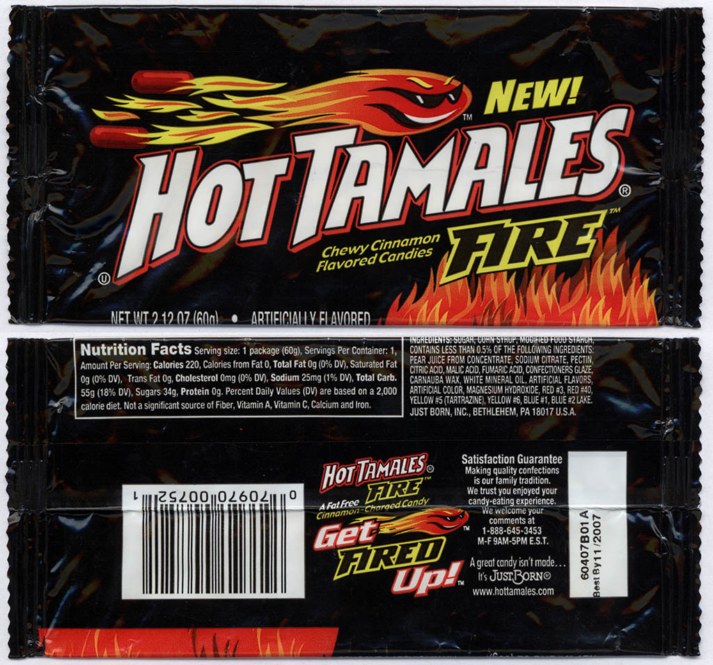 Just Born - Hot Tamales Fire - NEW - 2.12 oz candy package - 2006