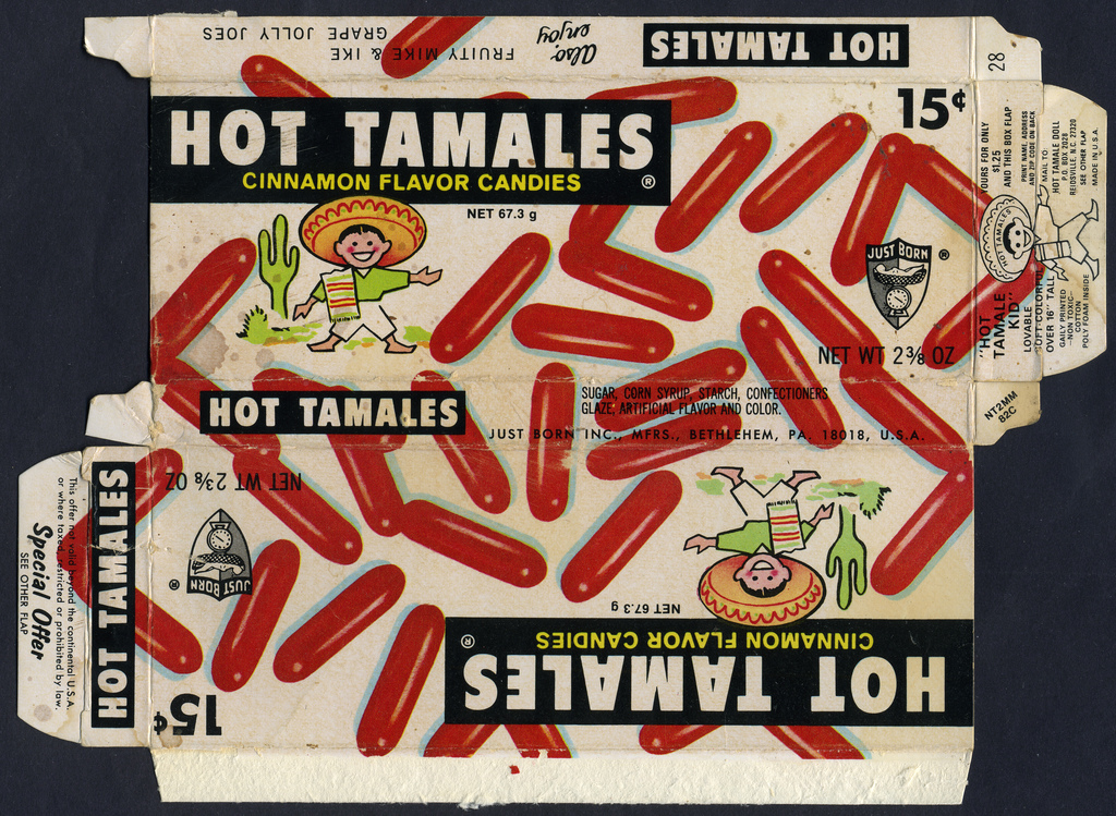Just Born - Hot Tamales - Hot Tamale Kid mail away offer - candy box 1973