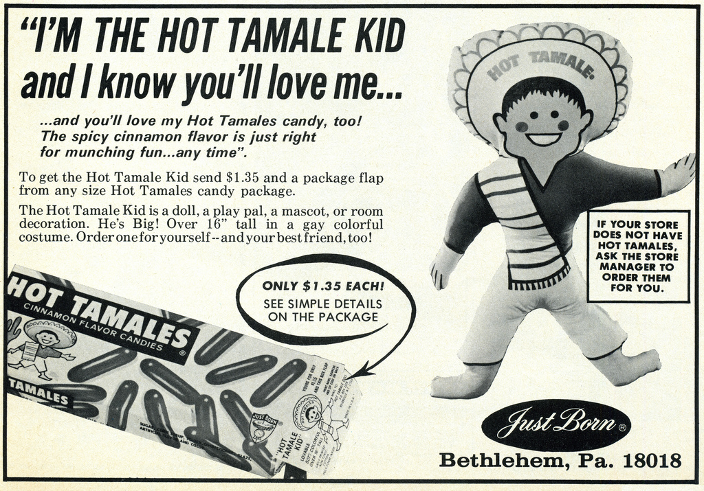 Just Born - Hot Tamales Kid ad - American Girl magazine, page 41 - February 1974