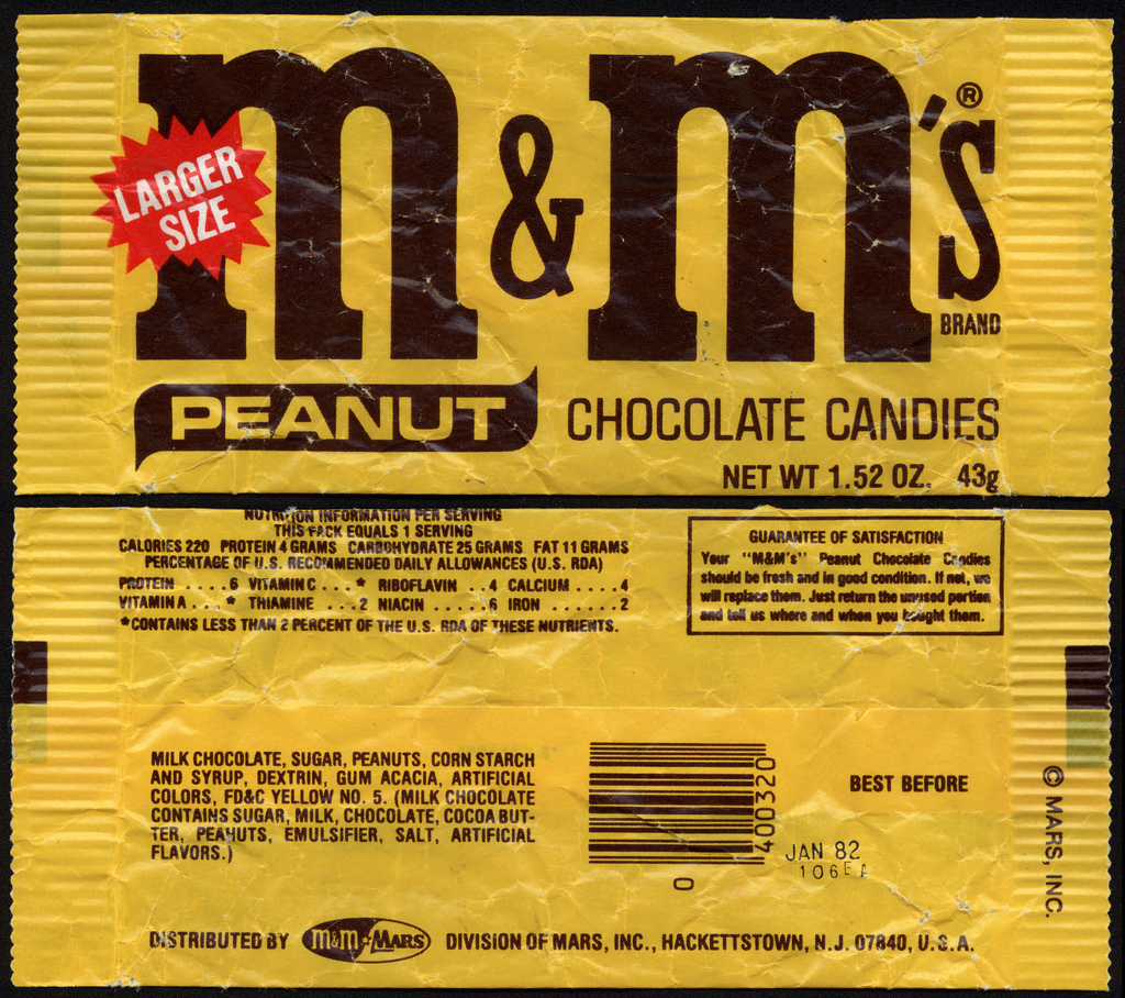 M&M's Peanut - Larger Size - candy package - 1981