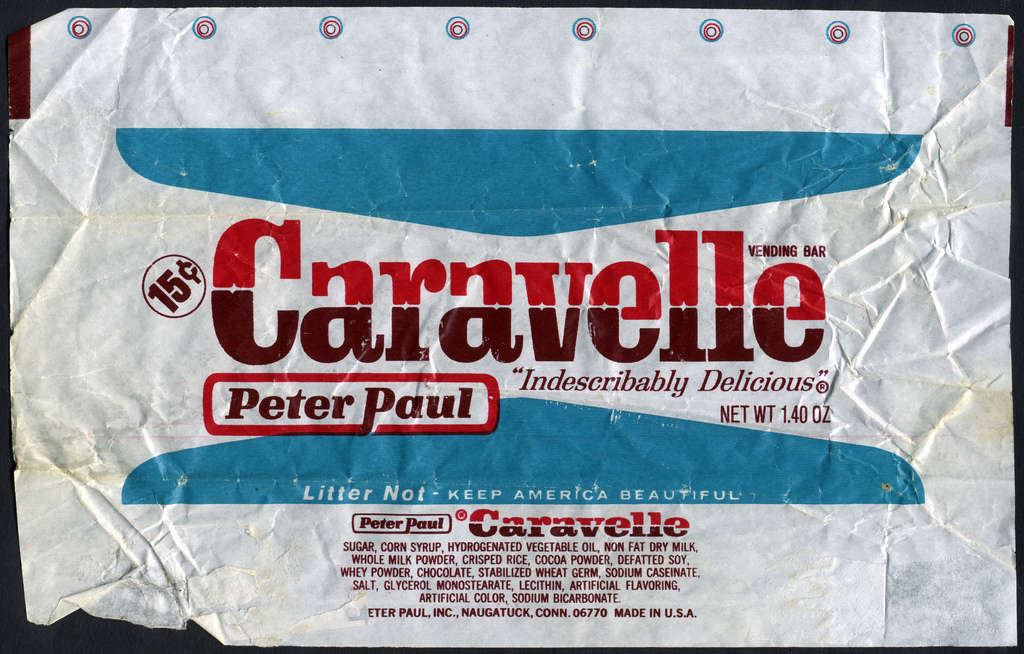 Peter Paul - Caravelle candy bar 15-cent wrapper - 1970's