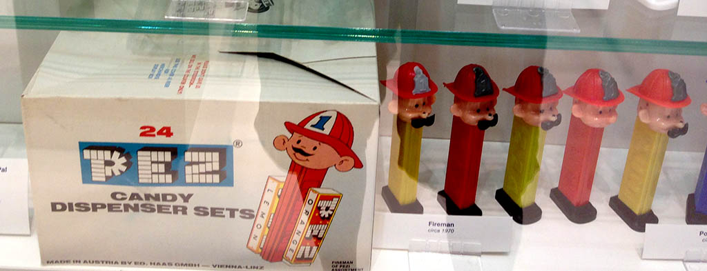 Pez - Pez Fireman dispensers - on display at PEZ Visitor's Center - Orange, Connecticuit