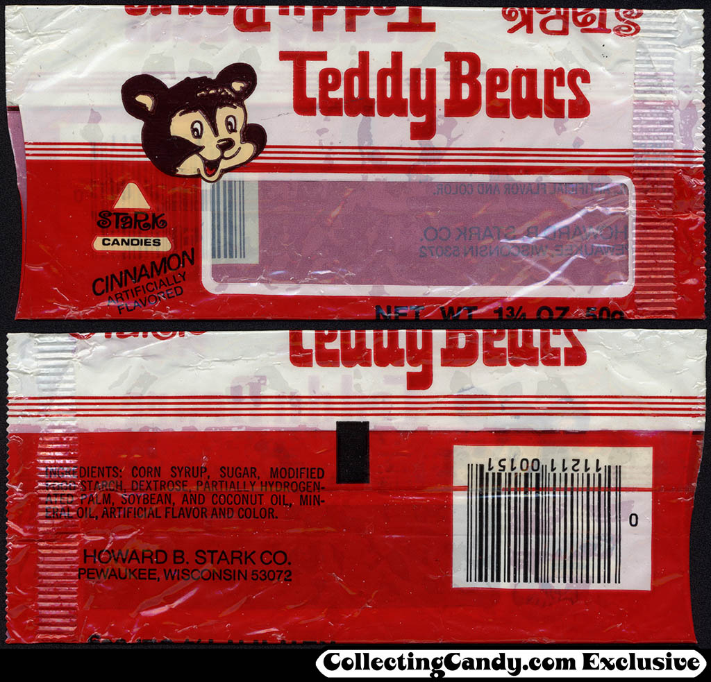 Stark Candies - Teddy Bears - 1 3-4 oz cinnamon candy package - late 1970's