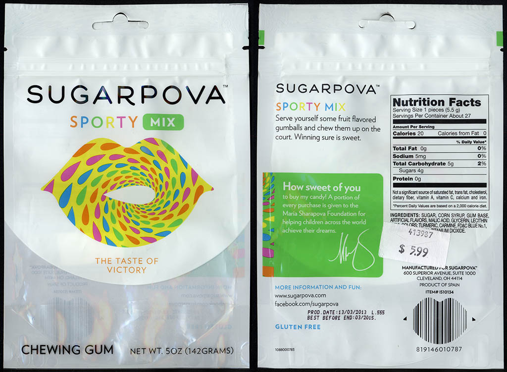 Sugarpova - Sporty Mix - chewing gum candy package - 2013