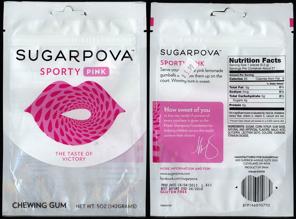 Sugarpova - Sporty Pink - chewing gum candy package - 2013