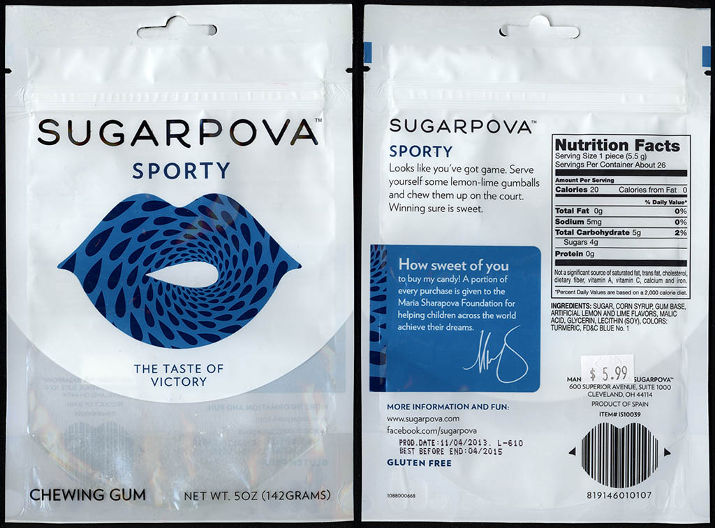 Sugarpova - Sporty - chewing gum candy package - 2013