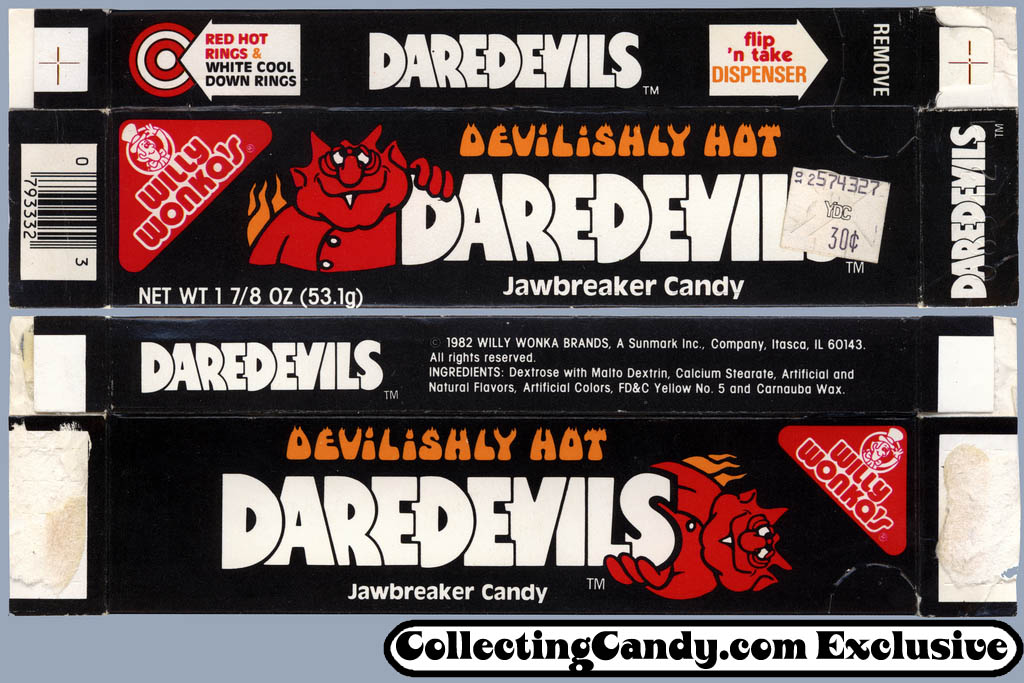 Sunmark - Willy Wonka's - Daredevils hot jawbreaker candy - box - 1982
